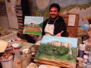 Artista Valerio Daddiego e Castelli di Basilicata in cartapesta