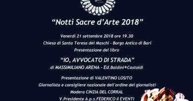 """Notti Sacre d'Arte 2018: Presentazione letteraria """"Io, avvocato di strada"""" di Massimiliano Arena"""