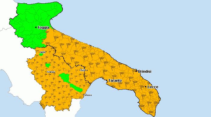 Mappa Puglia E Basilicata.Allerta Meteo Arancione In Puglia E Basilicata Oltre Free Press Quotidiano Di Notizie Gratuite