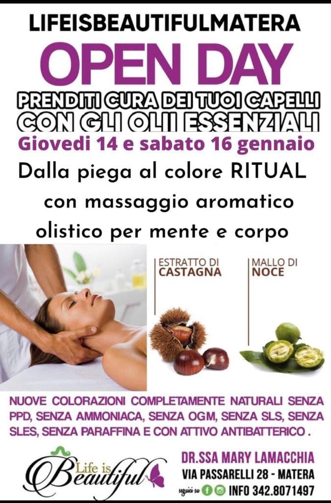 A Matera, il centro benessere Life is Beautiful presenta un nuovo Open Day per la salute dei tuoi capelli.