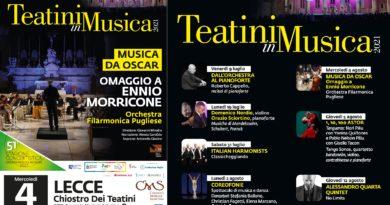 """""""Musica da Oscar"""" mercoledì 4 agosto alle ore 20,45 nel Chiostro dei Teatini di Lecce"""